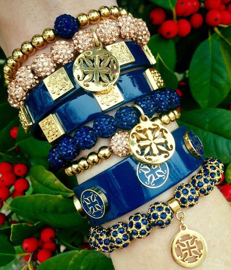 Rustic cuff - Navy & Gold