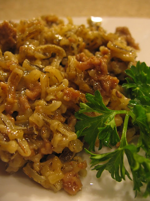 Minnesota Wild Rice Hot dish.  Made this tonight.  Chris and I liked it.  I turned it into a crock pot meal by cooking it on low for 5 hours.  I added garlic to it too, because we love garlic.