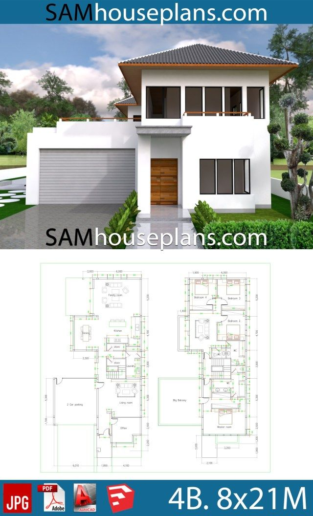 House Plans 8x21 With 4 Bedrooms Sam House Plans House Plans 4 Bedroom House Plans House