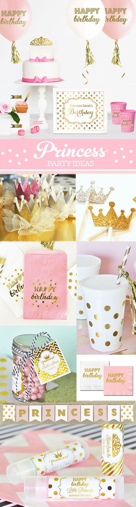 Princess Party Ideas for a 1st Birthday Princess!  Tiara Crown Favors for a 1st Birthday Princess Outfit Photo booth prop! by Mod Party