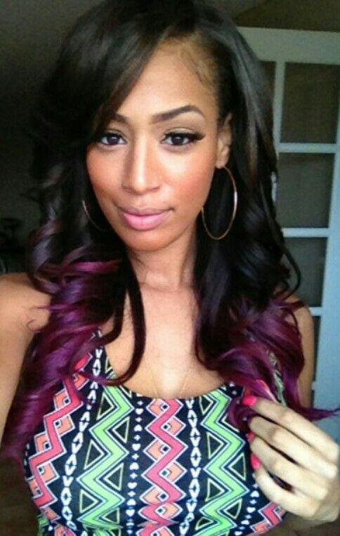 Full Weave Dyed Hair Purple Tips Curls Hair