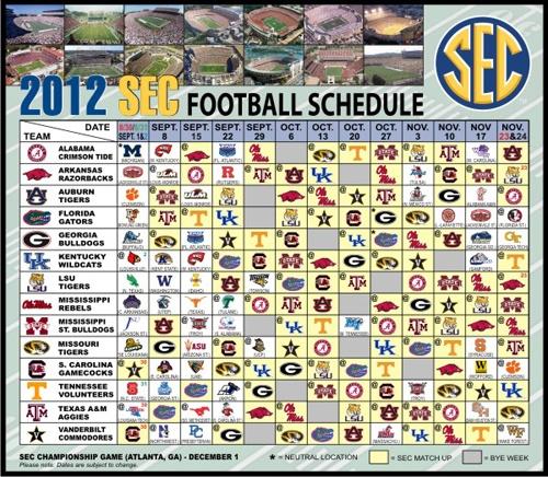 2012 Sec Football Schedule Magnet Missouri Tigers Texas
