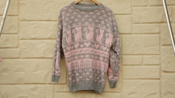 Vintage 70s-80s Pink Fair Isle Cat Sweater Crazy Cat Lady Sweater ...
