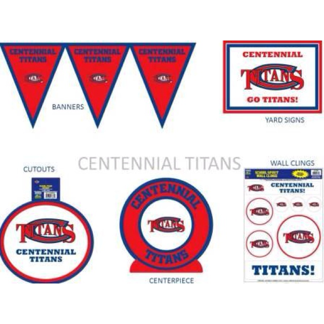 Centennial High School Titans plates, napkins, cups, & deco only at Frisco Party Station in Frisco, TX.