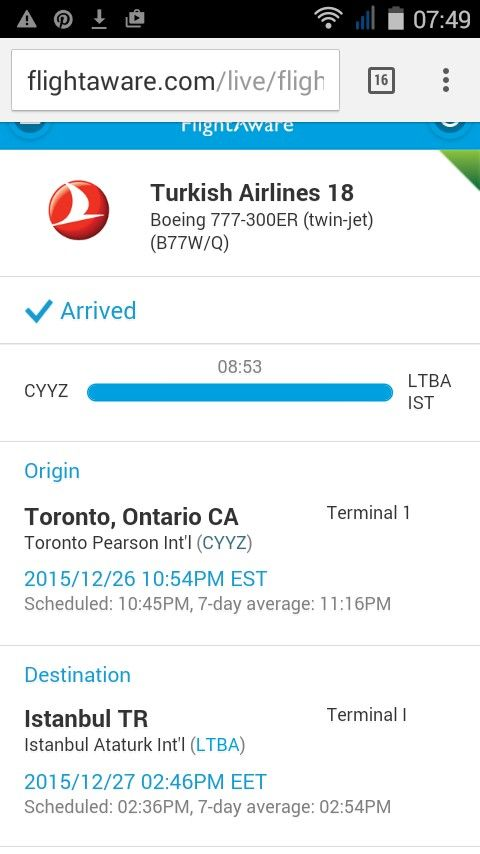 Fatima's flight arrives in Istanbul at 7:46 AM (2:46 Istanbul time)