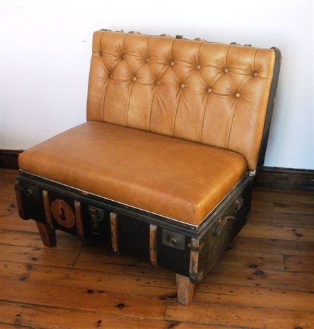 Antique luggage recycled into furniture. YES.: Ideas, Vintage Suitcases, Chairs, Old Suitcases, Trunks, Suitcase Chair, House, Furniture, Diy