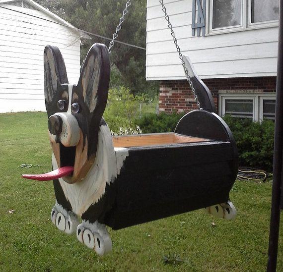 Corgi Wooden Dog Planter By Mycountryhaven On Etsy 60 00