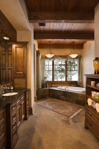 Corner Bath / Cabinets on Vanity ideas-for-the-homeBathroom Design, Rustic Bathroom, Dreams Bathroom, Dreams House, Bathroom Ideas, Master Baths, Dream Bathroom, Master Bathroom, Design Bathroom