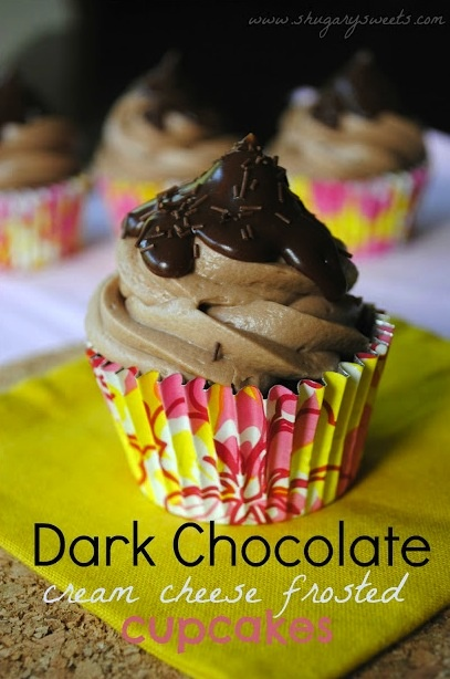 dark choclate ckChocolates Cream, Chocolate Cupcakes, Dark Chocolates, Chocolates Cupcakes, Shugary Sweets, Frostings Cupcakes, Cheese Frostings, Cream Cheese Frosting, Cream Cheeses