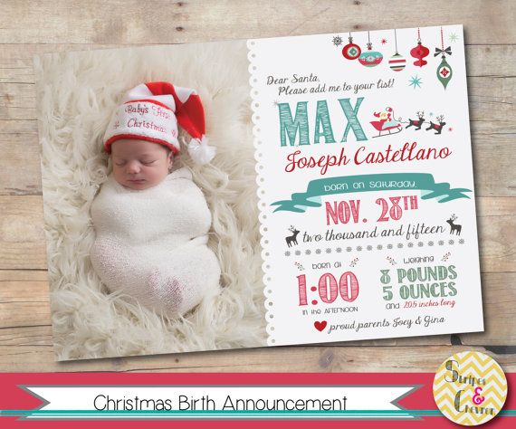 Christmas birth announcement, Printable, Santa baby announcement, Xmas baby, December baby, Birth card template, Newborn ideas,  Baby deer