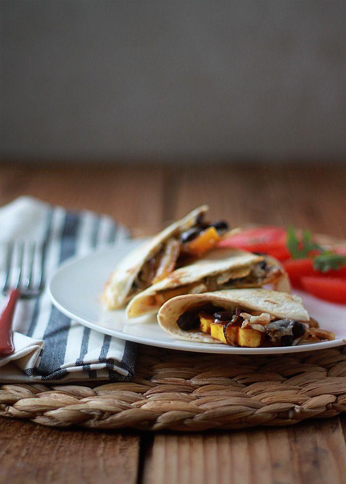Smoky Delicata Squash & Black Bean Baked Quesadillas