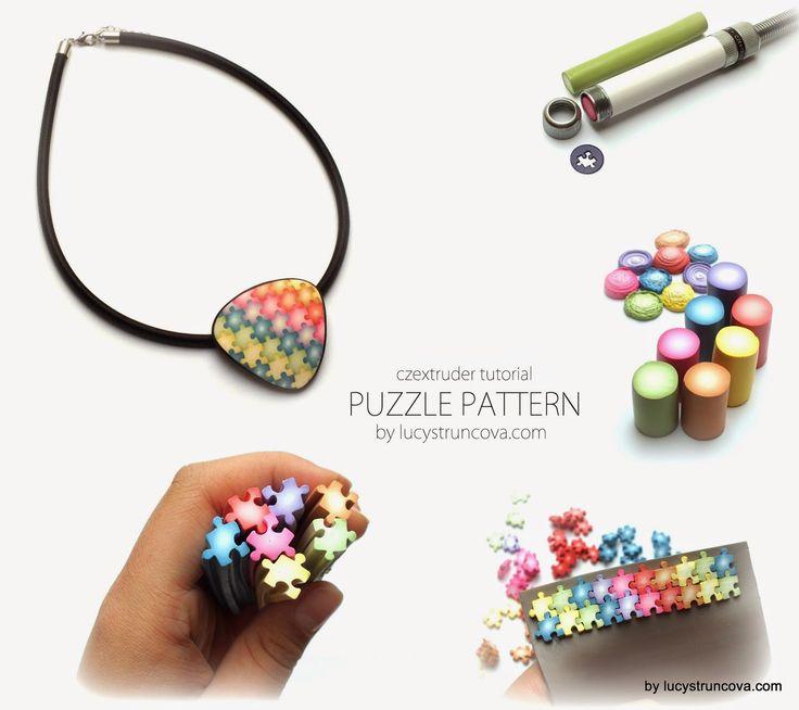 Puzzle vzor z Czextruderu - Polymer clay tutorial for Puzzle pattern for the Czextruder   LUCY Struncova