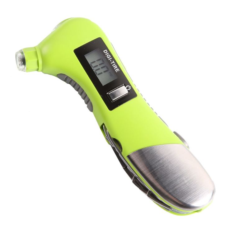 Digital Multifunctional Tire Gauge - 8 Tools in 1- For Trucks, Cars and Bike. Easy to use and easy to read - Digital technology for accuracy. Extremely high quality product. 3-Mode tire gauge: PSI, BAR, KPA (3 to 150 PSI). LED torch, lighted pressure valve, LED backlight for ultimate visibility in low light or at night. Multitool - pliers, flat and Phillips screwdrivers, scissors, seat belt cutter, and glass hammer.