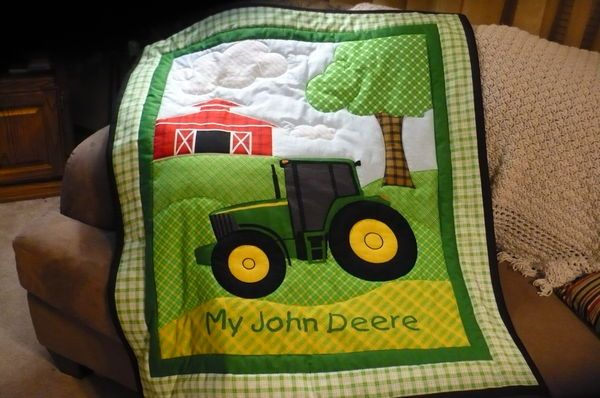 Tractor Quilt (John Deere, barn, farm, scene, tree, field, green, yellow, red, baby, child)