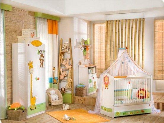 dschungel babyzimmer bambus jalousien plüschtiere