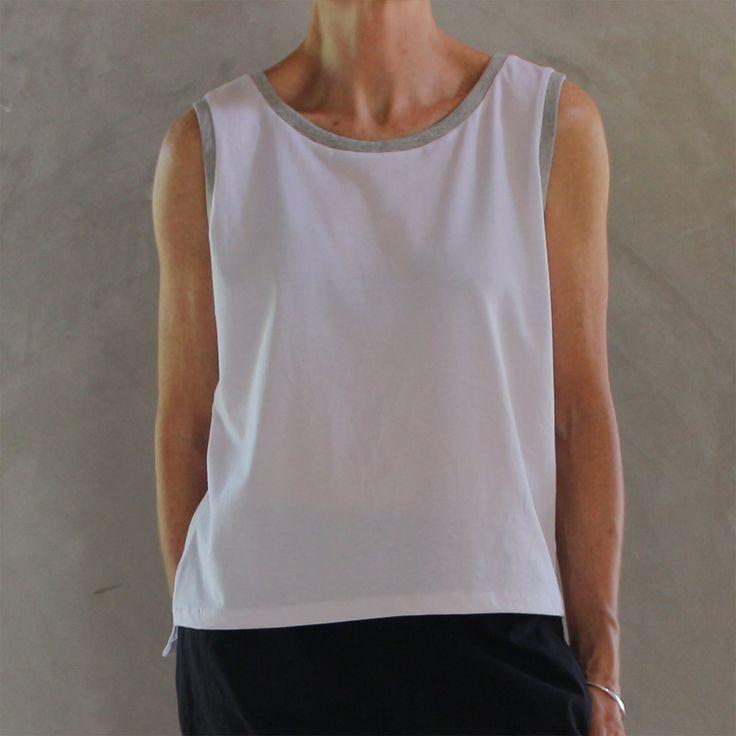 White Organic Cotton Sleeveless T Shirt with Grey Rib Trim by mijentto on Etsy