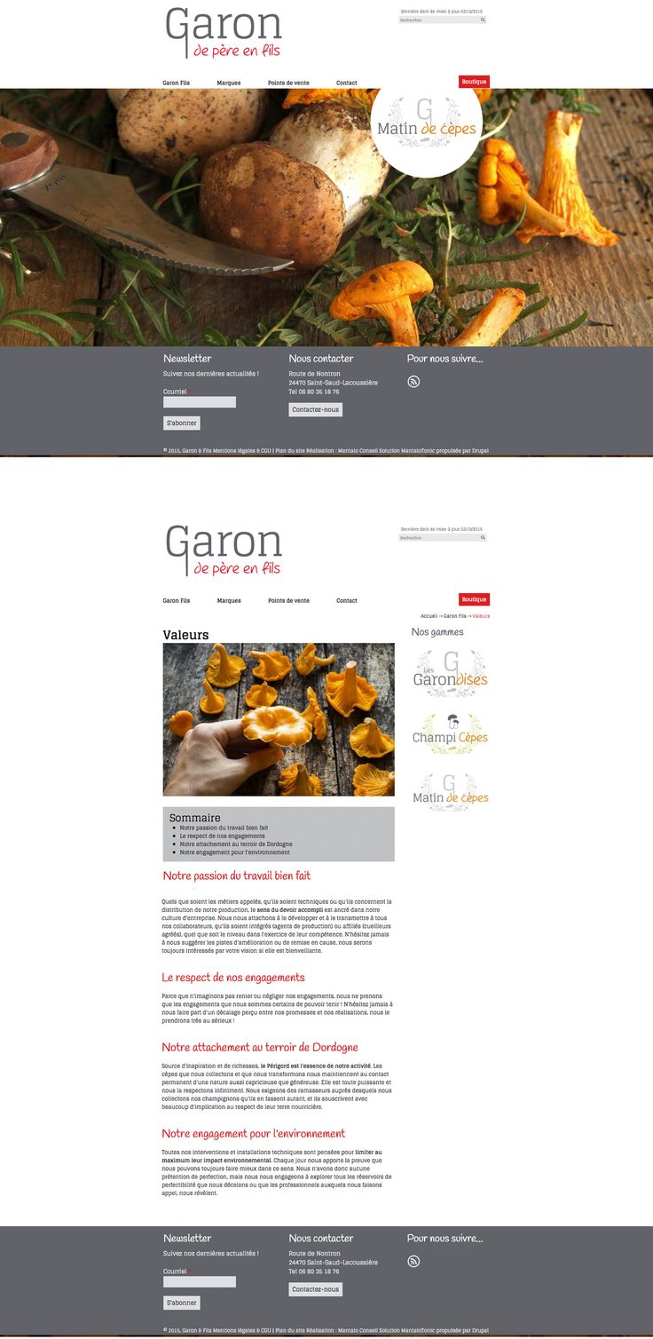 Site Garon de père en fils - www.garon-fils.fr - Site vitrine - Entreprise de découpe de viande et de vente de cèpes et girolles du Périgord #site #web #champignon #périgord #sitevitrine
