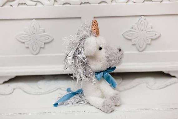 This cute plush #toy #unicorn is made of special yarn. The unicorn #gift child will be the most interesting gift for a child or an adult. Each knit unicorn crochet is unique, ... #etsy #crochet #animal #knit #handmade