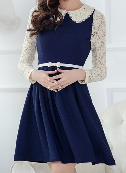 Lace Splicing Peter Pan Collar Color Block Long Sleeve Casual Dress For Women