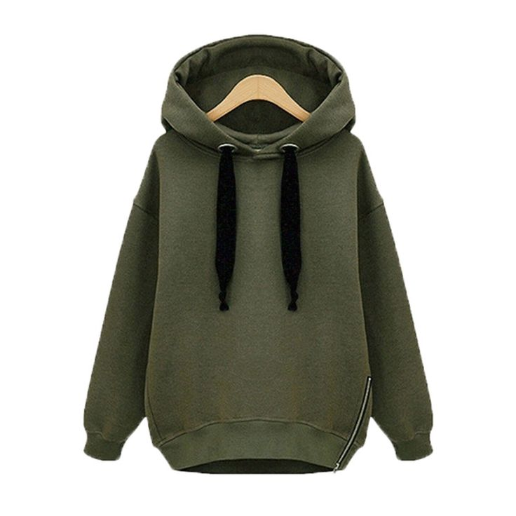 Winter Autumn  Fashion Women Long Sleeve Hooded Jacket Loose Warm Hoodies Solid Sweatshirt Plus Size 3 Colors - Armygreen Short, 4XL Like and Share if you want this Visit our store