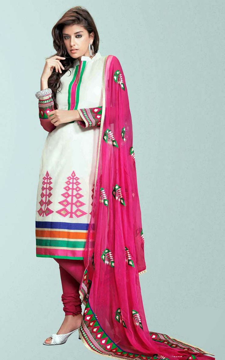 OFF WHITE & PINK COTTON PRINTED SALWAR KAMEEZ - WIS 147