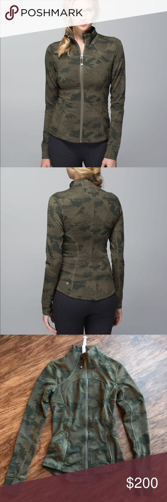 Lululemon savasana forme jacket Green camo, luxtreme. No flaws whatsoever, like new! Size 2 but could fit a 4 due to tooonnss of stretch. Super rare. Before you make comments about the price please google this jacket to see what this is going for on eBay. ($200-$300). 20% off via p.ay p.al. lululemon athletica Jackets & Coats