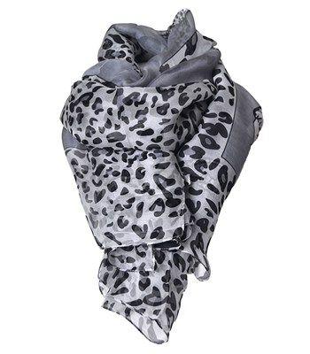 Silk scarf animal print grey