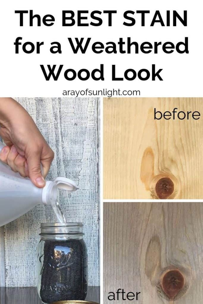 How To Give Wood A Weathered Look For Your Farmhouse Style Diy Furniture Projects And Crafts This Diy Wea Staining Wood Weathered Wood Stain Grey Stained Wood