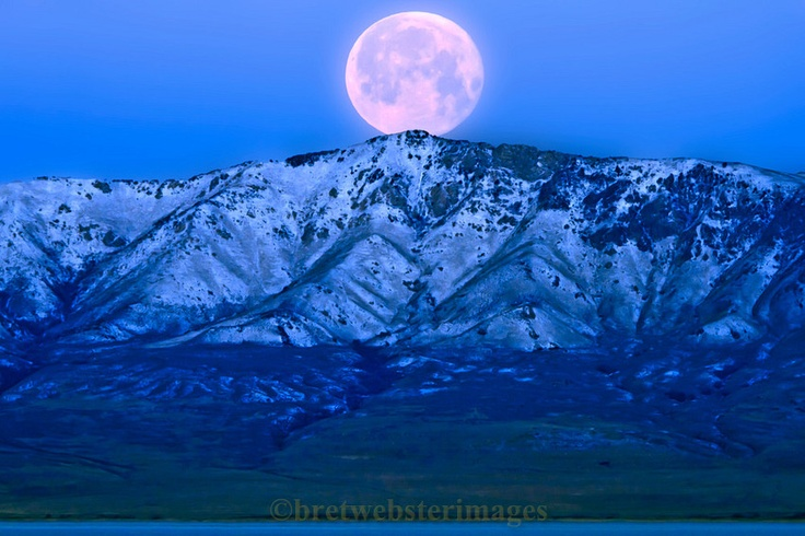 Moon Over Antelope Island by Bret Webster