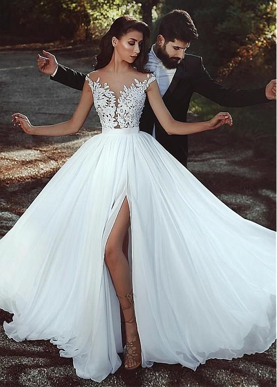 Magbridal Graceful Tulle & Chiffon Jewel Neckline A-line Wedding Dress With Lace Appliques & Slit