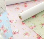 Pottery Barn removable wallpaper for little girls room or bathroom; i like for shelves