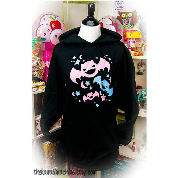Kawaii Fairy Kei Pastel Goth Bats Womens Hoodie S Through 2xl ($45) ❤ liked on Polyvore featuring tops, hoodies, goth hoodie, gothic hoodie, sweat shirts, black hoodie sweatshirt and black hoodie