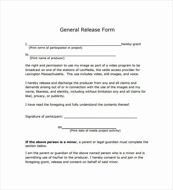 Sample General Release Form In 2020 With Images Release Form