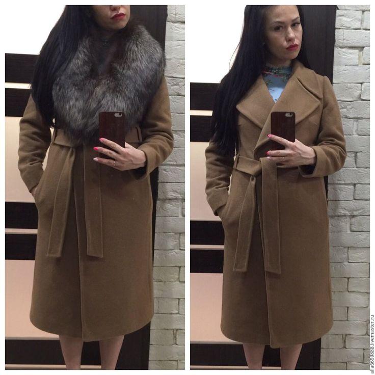 Купить Пальто Классика с английским воротником - однотонный, пальто, стильное пальто, Дизайнерское пальто, бежевый
