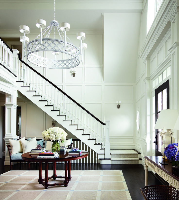 Elegant Foyer Stair Wraps A Paneled Two Story Entry Hall: Stair, Hall And Foyer Rugs