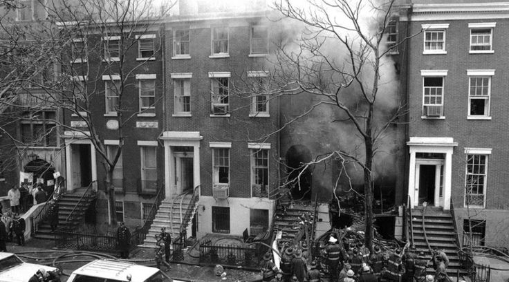 New York City ~ Manhattan   Explosion at 18 West 11th Street, Greenwich Village, caused by radical group, the Weather Underground, 1970. Actor, Dustin Hoffman lived next door at the time.