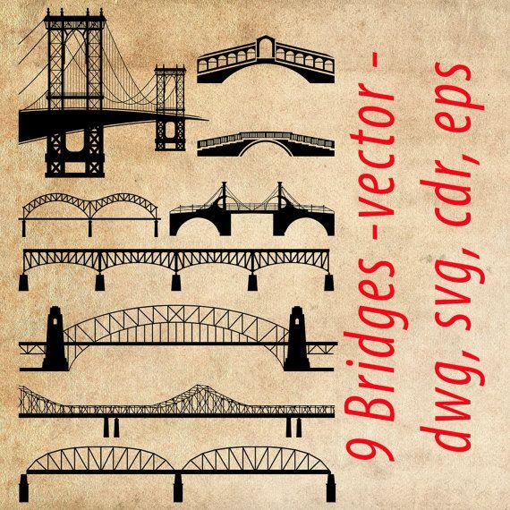 Bridges clipart SVG, Bridges Vector, set of 9 bridges, bridge clip art, Instant Download, eps, ai, svg, cdr, dwg, dxf, png - DigitalToolShop
