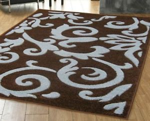 Teal And Brown Rugs Damask LARGE CHOCOLATE BROWN TEAL BLUE DAMASK RUG 120X165 CM EBay Home