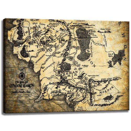 Terra di Mezzo mappa del mondo, Il Signore degli Anelli Tema su tela Formato: 120 cm x 80 cm. Stampa artistica di elevata qualità come un murale. Più economico di un dipinto ad olio! ATTENZIONE! NO Poster