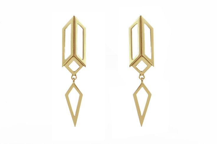 Decoart drop earrings (yellow gold)