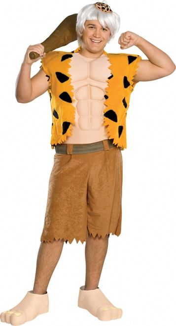 Bam Bam Rubble Teen Halloween Costume - This is an officially licensed Bamm Bamm costume from the Flintstone's TV show.The costume includes an orange and black leopard-like print fun fur vest with attached foam muscle chest and a pair of brown light weight fleece shorts with a brown faux leather mock belt. #flintstones #costume #yyc #calgary #teen