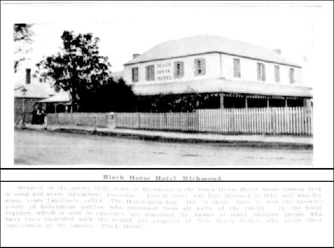 Black Horse Inn, Richmond NSW- Australian Town and Country Journal 17 October 1906, page 22
