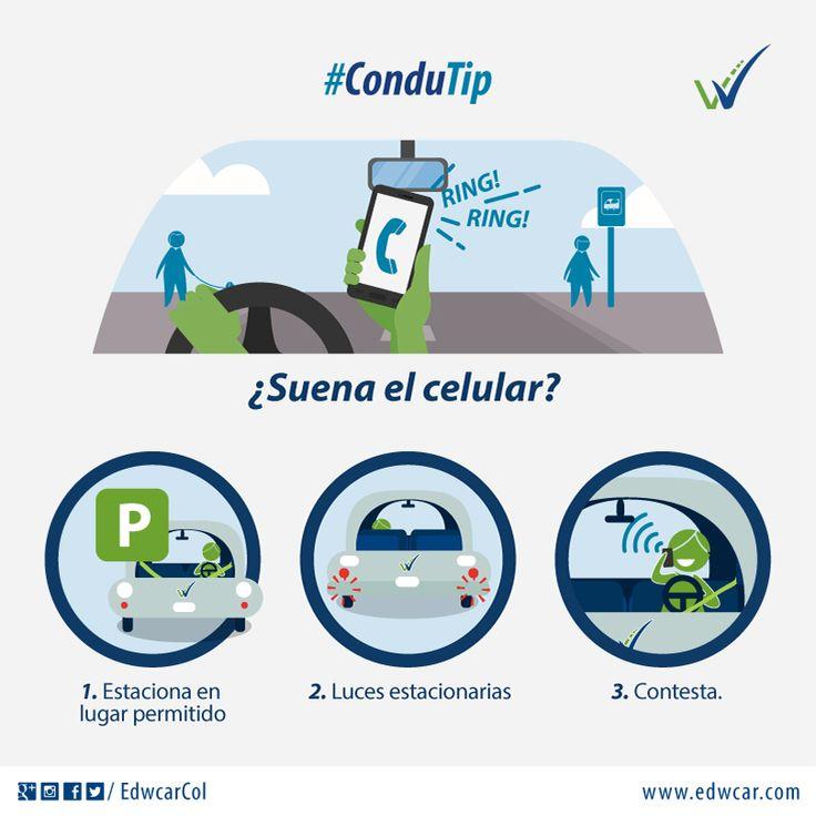 "#ConduTip #VidaEnLaVía ""Riing, riiiing..."" ¿Suela el celular?  1. Estaciona en lugar permitido 2. Luces estacionarias 3. Contesta. #EducaciónVial #SeguridadVial #Bogotá #CursodeConducción #AprenderaConducir"