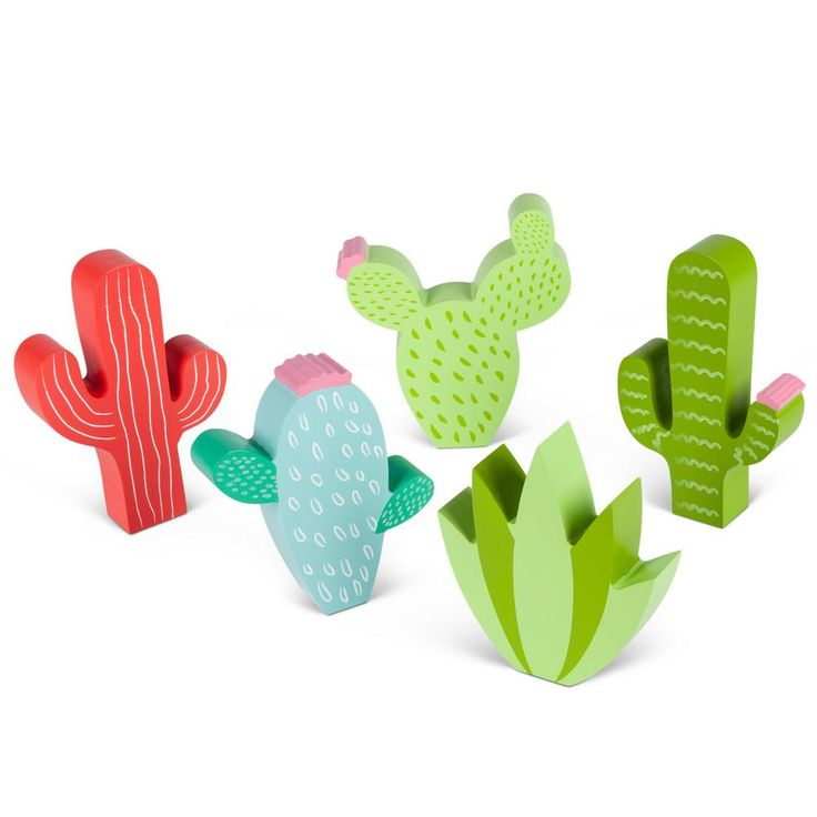 Gerson Assorted Wood Cactus Figurines (Set of 5) 93676EC