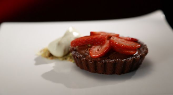 Bree and Jessica's Dark Chocolate Mousse Tart with Strawberries and Pistachios: http://gustotv.com/recipes/dessert/dark-chocolate-mousse-tart-strawberries-pistachios/