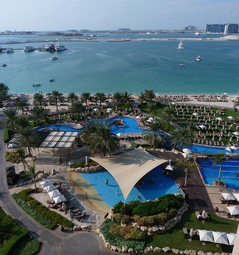 From my balcony at the Westin Dubai looking out to the Palm