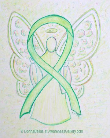 Lime Green Awareness Ribbon Angel Painting Art