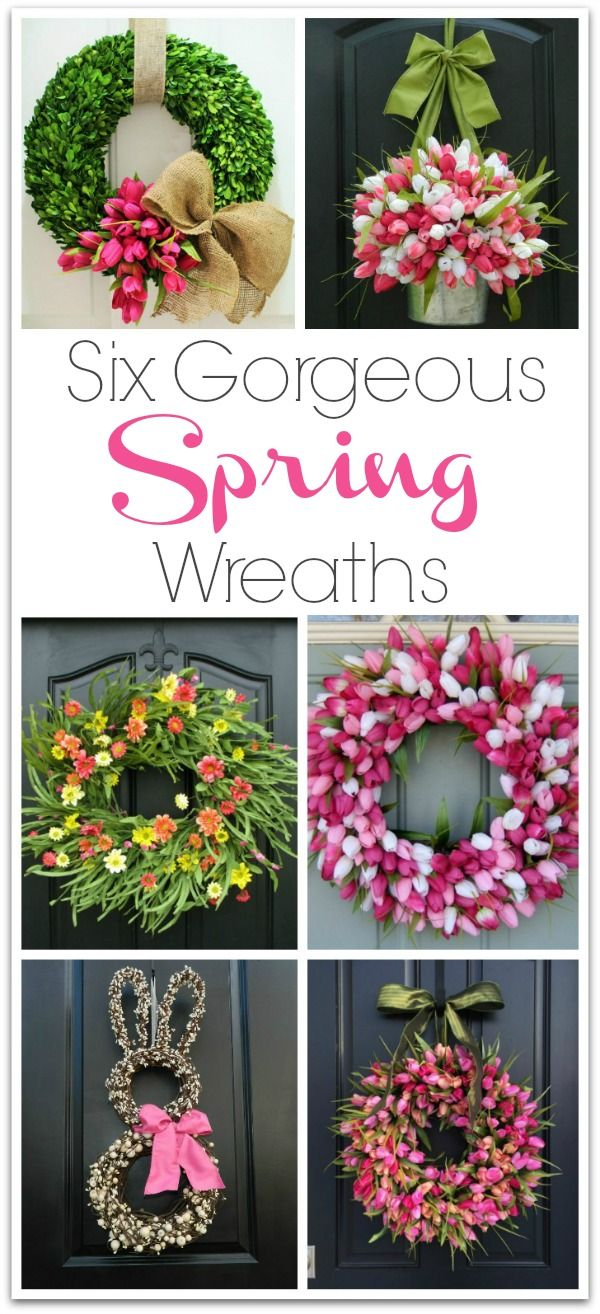 Six spring wreaths you can buy that would make gorgeous front door decorations! Links to shops selling them included in post!