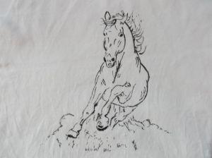 Koszulka lub bluzka ręcznie malowana - koń