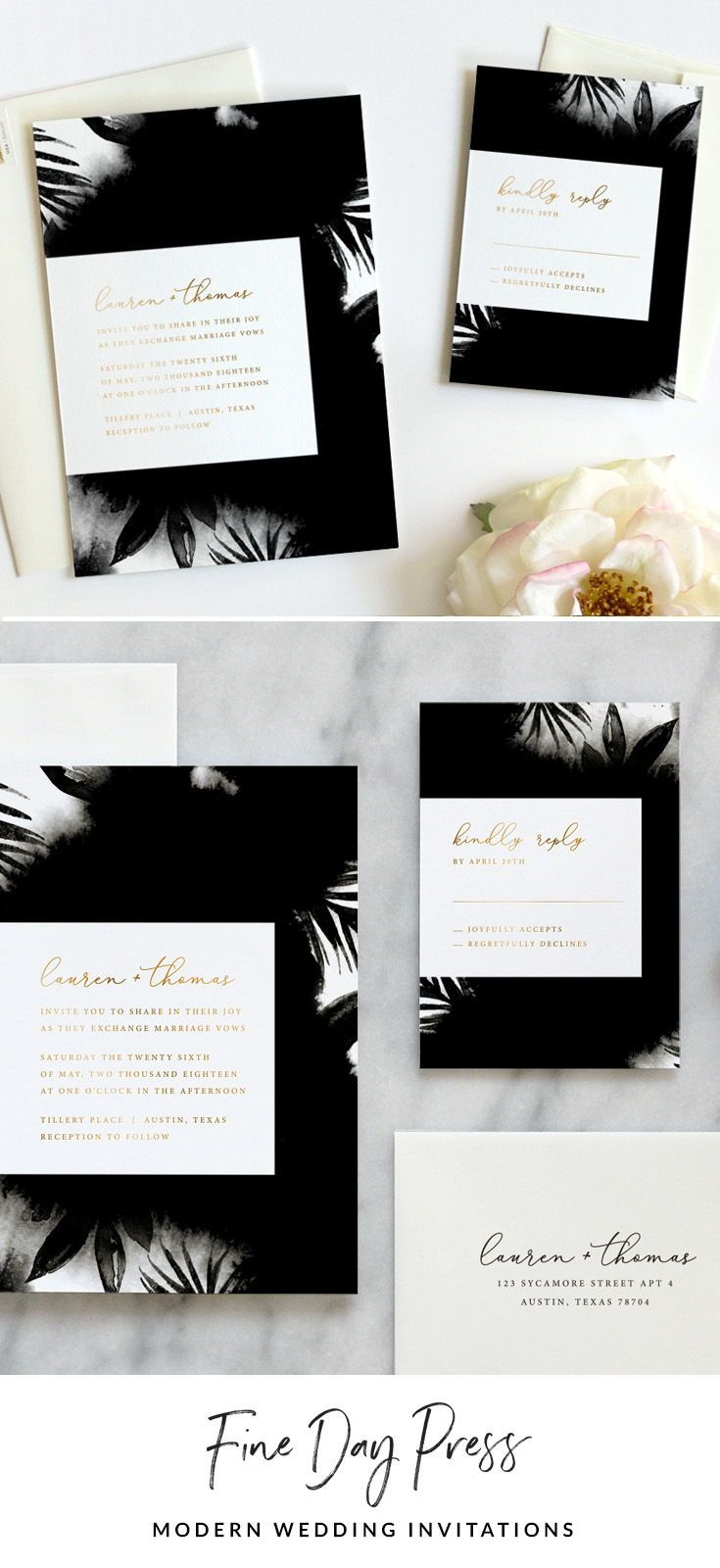 Flora Noir Wedding Invitation Wedding Invitations Colorful